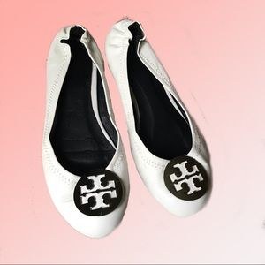 White leather Tory Burch flats